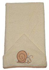 Detská osuška s vyšívaným slimákom 75×120 cm okrová