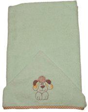 Detská osuška s vyšívaným psom 75×120 cm zelená