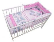 MamaKiddies Sofie Dreams 4-dielna posteľná bielizeň s 180°krytom na mriežky - pink