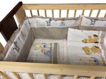 MamaKiddies Sofie Dreams 5-dielna posteľná bielizeň s 360°krytom na mriežky - béžová s macíkmi