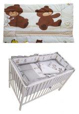 MamaKiddies Sofie Dreams 5-dielna posteľná bielizeň s 180°krytom na mriežky - sivá s macíkmi