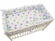 MamaKiddies Sofie Dreams 4-dielna posteľná bielizeň s 180°krytom na mriežky - svetlá so sovičkami