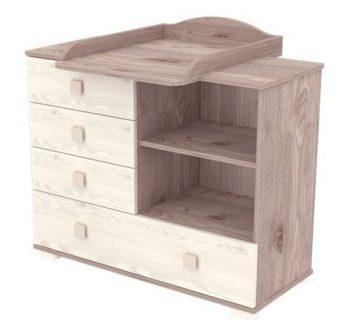 Prebaľovacia skrinka so 4 zásuvkami a policou v šedo - hnedej farbe
