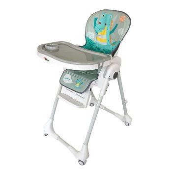 Detská multifunkčná jedálenská stolička MamaKiddies Star, sivo-biela s dinosaurom