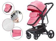 Detský kombinovaný kočík Mama Kiddies Moon Pink: 2 v1 s doplnkami v ružovej farbe