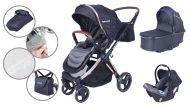 Detský kombinovaný kočík Mama Kiddies Luxury 3 v 1 v čiernej farbe + darček nánožník