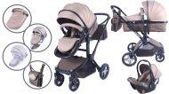 Detský kombinovaný kočík Mama Kiddies  Beige-Brown Fox 3v1 s doplnkami + Darček