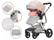 Detský kombinovaný kočík Mama Kiddies  Moon Pink-Grey: 2 v1 s doplnkami v ružovo- sivej farbe
