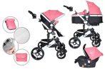 Detský kočík MamaKiddies Venus 3v1 s doplnkami v ružovej farbe + darček