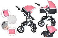 Detský kombinovaný kočík Mama Kiddies Venus 3v1 s doplnkami v ružovej farbe + darček