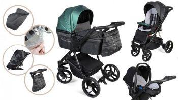 Detský kombinovaný kočík Mama Kiddies Glimmer Collection, 3v1, farba Smaragd + Darčeky