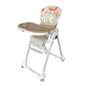Detská multifunkčná jedálenská stolička MamaKiddies Star, hnedo-biela s lesným vzorom