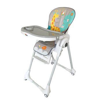 Detská multifunkčná jedálenská stolička MamaKiddies Star, bielo-sivá so žirafou