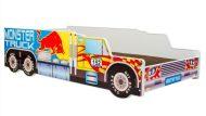 Mama Kiddies 140x70-cm detská posteľ s dizajnom Monster Truck a s matracom