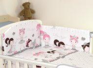 Mama Kiddies Baby Bear 5-dielna detská detská posteľná bielizeň s 180 ° krytom na mriežky bielo sivá -balet