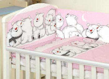 MamaKiddies Baby Bear 5-dielna posteľná bielizeň s 360 ° krytom na mriežky ružová s ľadovími medveďmi