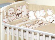 MamaKiddies Baby Bear 5-dielna posteľná bielizeň s 360 ° krytom na mriežky bledohnedá s ľadovími medveďmi