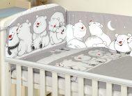 MamaKiddies Baby Bear 5-dielna posteľná bielizeň s 360 ° krytom na mriežky sivá s ľadovími medveďmi