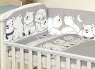 MamaKiddies Baby Bear 5-dielna posteľná bielizeň s 180 ° krytom na mriežky sivá a ľadovími medvedíkmi