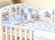 MamaKiddies Baby Bear 5-dielna posteľná bielizeň s 180 ° krytom na mriežky modro biela so sovičkami