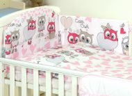 MamaKiddies Baby Bear 5-dielna posteľná bielizeň s 360 ° krytom na mriežky bielo ružová so sovičkami