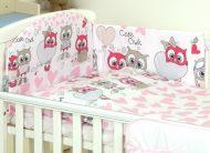 Mama Kiddies Baby Bear 5-dielna detská posteľná bielizeň s 180 ° krytom na mriežky bielo ružová so sovičkami