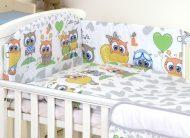 Mama Kiddies Baby Bear 5-dielna detská posteľná bielizeň s 360 ° krytom na mriežky sivo biela s farebnými sovičkami