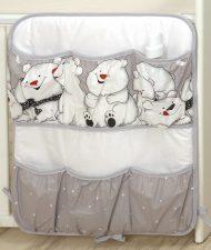 Mama Kiddies Baby Bear vreckový organizér sivý s ľadovým medvedíkom