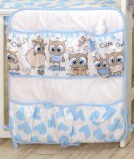 Mama Kiddies Baby Bear vreckový organizér bielo-modrý so sovičkami