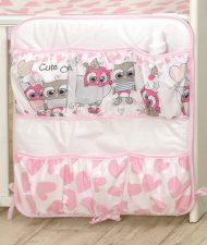 Mama Kiddies Baby Bear vreckový organizér bielo-ružový so sovičkami