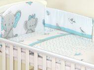 Mama Kiddies Baby Bear 5-dielna detská posteľná bielizeň s 180 ° krytom na mriežky tyrksová so sloníkom