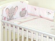 Mama Kiddies Baby Bear 5-dielna detská posteľná bielizeň s 180 ° krytom na mriežky ružová so sloníkom