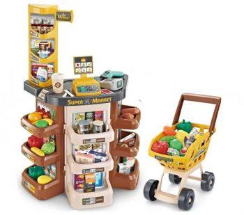 Mama Kiddies 47-dielna super nákupná súprava s nákupným vozíkom a množstvom doplnkov v hnedej farbe