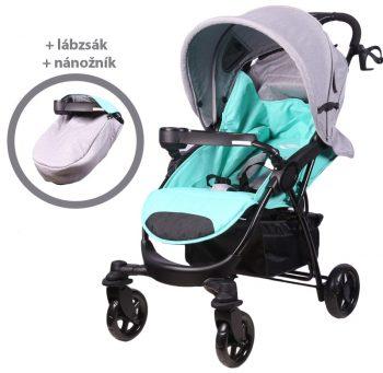 Detský športový kočík MamaKiddies Light4 Go, farba tyrkysovo-sivá + Nánožník + Darček