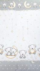 Mama Kiddies Baby Bear 2-dielna posteľná bielizeň pre skôlkárov v sivej farbe so vzorom macík