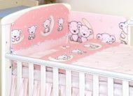 MamaKiddies Baby Bear 5-dielna posteľná bielizeň s 180 ° krytom na mriežky ružová s macíkmi