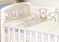 MamaKiddies Baby Bear 5-dielna posteľná bielizeň s 180 ° krytom na mriežky béžová s macíkmi