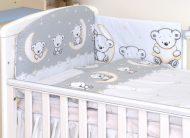 MamaKiddies Baby Bear 5-dielna posteľná bielizeň s 180 ° krytom na mriežky sivá s macíkmi