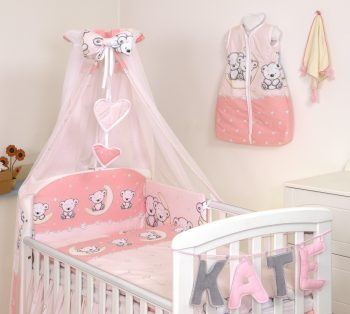 MamaKiddies Baby Bear 6-dielna posteľná bielizeň s 180 ° krytom na mriežky ružová s macíkmi