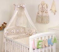 MamaKiddies Baby Bear 6-dielna posteľná bielizeň s 180 ° krytom na mriežky béžová s macíkmi