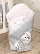 MamaKiddies Baby Bear zaviňovačka sivá s macíkmi