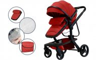 Detský kombinovaný kočík  Mama Kiddies Moon Red: 2 v1 s doplnkami v červenej farbe