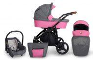 Detský kombinovaný kočík Mama Kiddies Titan 3v1 s doplnkami, farba PINK + Darček