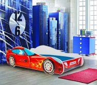 MamaKiddies 140x70-cm detská posteľ s dizajnom auta- so vzorom Pretekárske auto a s matracom