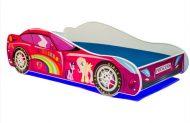 Mama Kiddies 140x70-cm detská posteľ s dizajnom auta - so vzorom Princess Rainbow a s matracom