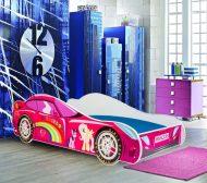 MamaKiddies 160x80-cm  detská posteľ  s dizajnom auta- so vzorom Princess Rainbow