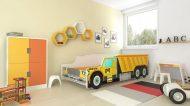 MamaKiddies 160x80-cm  detská posteľ  s dizajnom auta- so vzorom CAT