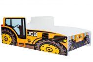 MamaKiddies 140x70-cm detská posteľ s dizajnom traktora- so vzorom JCB  a s matracom