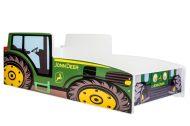MamaKiddies 140x70-cm detská posteľ s dizajnom traktor - so vzorom JohnDeere a s matracom
