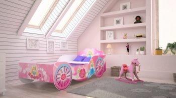 Mama Kiddies 160x80-cm  detská posteľ v tvare kočiara s ružovou vzorkou